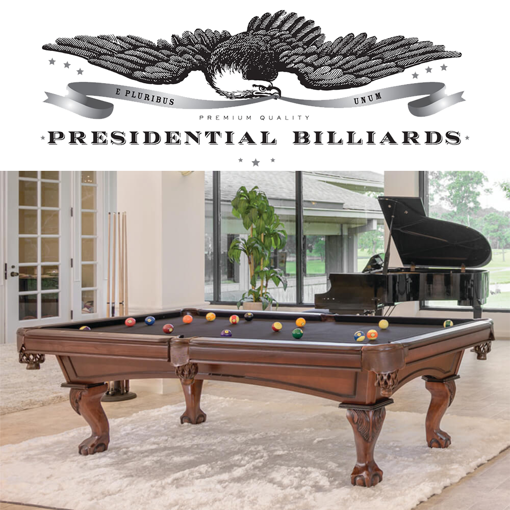 Presidential Billiards logo and pool table