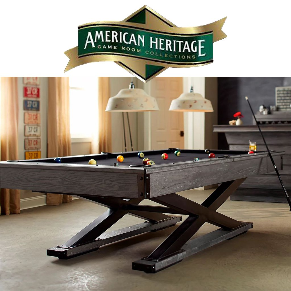 American Heritage logo and pool table