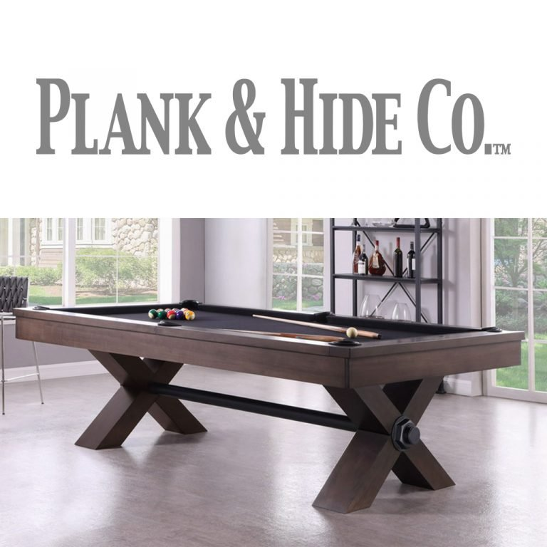Plank and Hide Co. logo and pool table